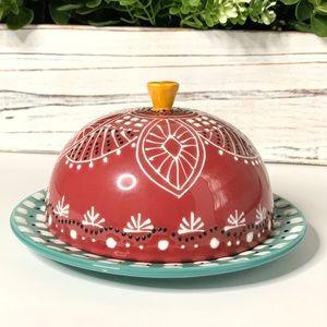ANTHROPOLOGIE La Boheme Ceramic Dome Butter dish